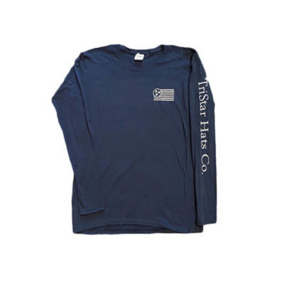 Navy Long Sleeve Tee Front - TriStar Hats Co.